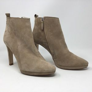 Zara Basic tan suede ankle boots.